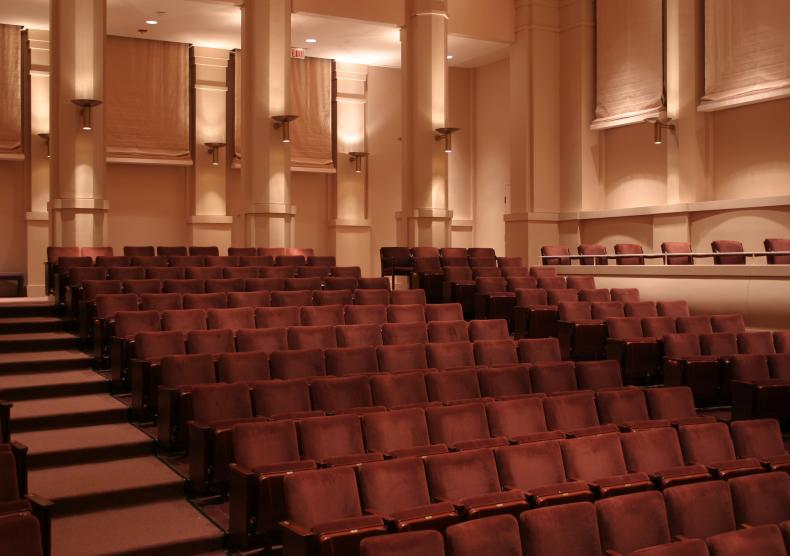 A small performance hall designed for recitals and smaller chamber ensemble performances