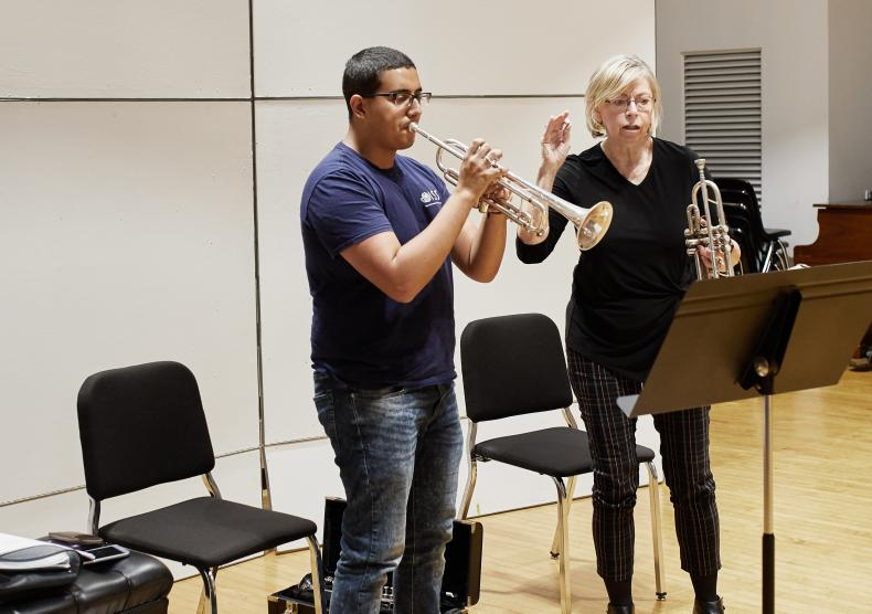Student in a trumpet lesson with Professor Barbara Butler