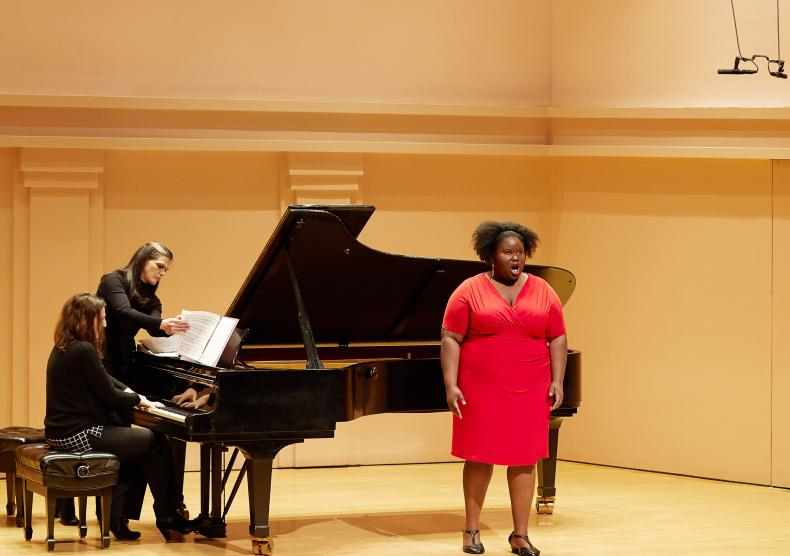 Student performing her recital on Duncan Recital Hall
