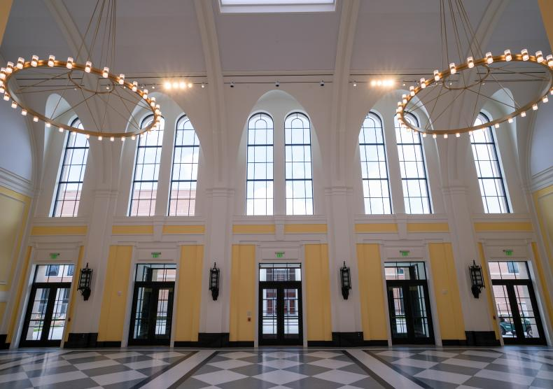View of the Brockman Hall Grand Foyer from the staircase